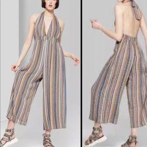 Striped Jumpsuit Halter Low V Neck Wide Leg